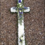 #### large based casket cross 4ft £110, 5ft £135, any colour posies