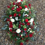 ####mixed seasonal flower casket spray 4ft £120   5ft £150. 6ft £180 all colours available